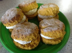 Pumpkin Scones with Spiced Chantilly Cream